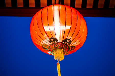 Chinese red lamp at temple photo