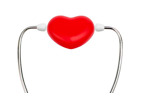 stethoscope and red heart with text background photo