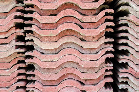asbestos: Red brick-lined sheet Stock Photo