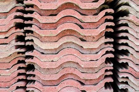 asbestos: Red brick-lined sheet Stock Photo