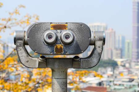 macau: tourist binoculars at macau Stock Photo
