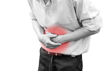 彼は下痢を持っているので、胃の痛みから苦しんでいる人