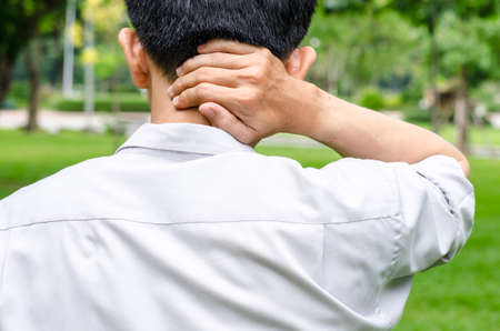 Businessman office  with pain in neck