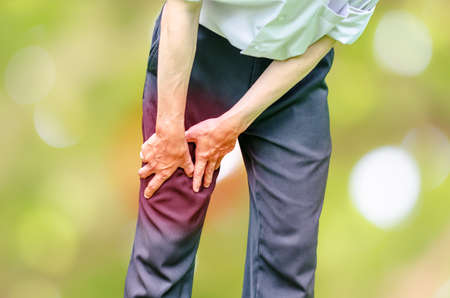 Businessman office man with leg calf pain Stock Photo