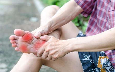 Male foot pain, Mans problem concept