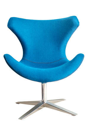 Modern chair in metal and blue fabric isolated on white background Standard-Bild