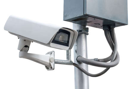 deterrent: CCTV security camera on white background.