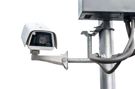 cctv security: CCTV security camera on white background.
