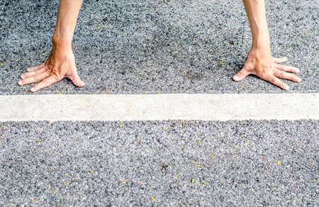 start line: Runner in start line position.