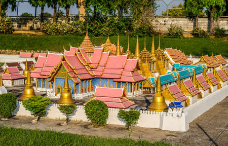 mimetic: PATTAYA, THAILAND - April 10 2016 : Wat Phra Srisunpetch landmark of Ayutthaya, Thailand at Mini Siam miniature park attraction. Editorial