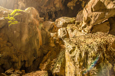 rock formation: Cave exploration. Rock formation in a cave.