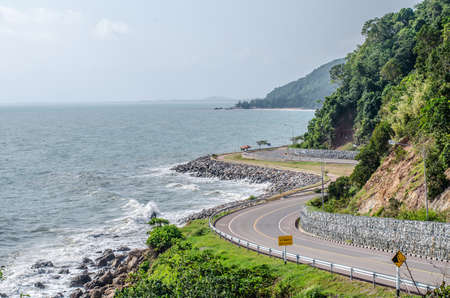 The road along beautiful beaches in the eastern sea coast ,The east side of the Gulf of Thailand.