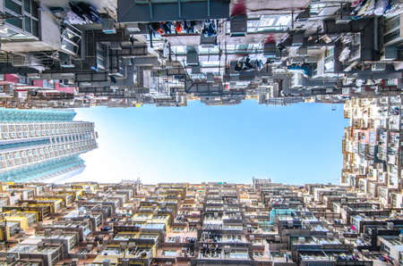 overcrowded: Very Crowded but colorful building group  in Tai Koo, Hongkong Stock Photo