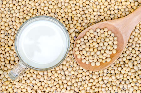 top view of soy milk and soy beans with soy beans background