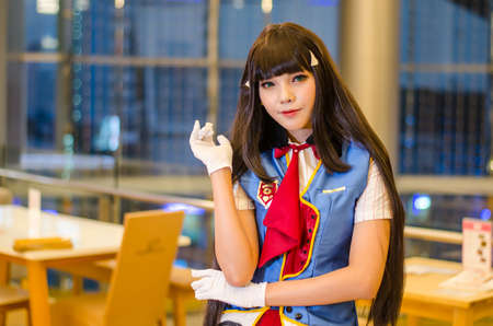 sexy asian woman: Bangkok, Thailand - April 22, 2017: Cosplay posing at the japan festival dedicated to video games, TV series and comics, anime, manga, cosplay.