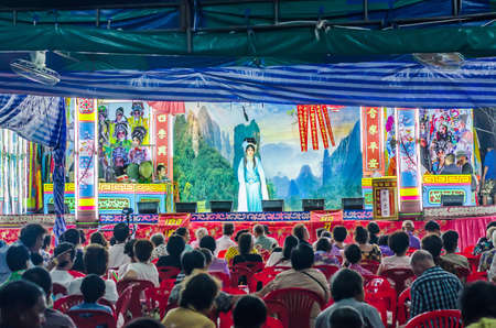 BANGKOK THAILAND - May 16, 2017: China traditional opera actor performs on stage with theatrical costume and facial painting, this charity event established for public in bangkok. Everyone can join this event.