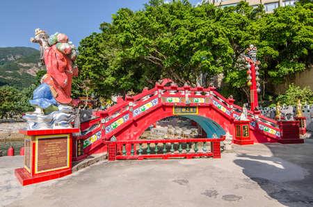 REPULSE BAY , HONG KONG - December 10 : The red bridge call Longevity Bridge at Repulse bay , Hong Kong on December 10 2016.