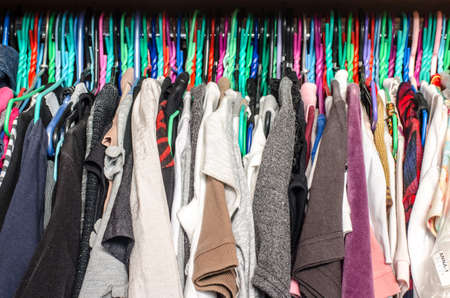 Fashion Clothes On Clothing Rack   Bright Colorful Closet. Close Up Of  Rainbow Color Choice
