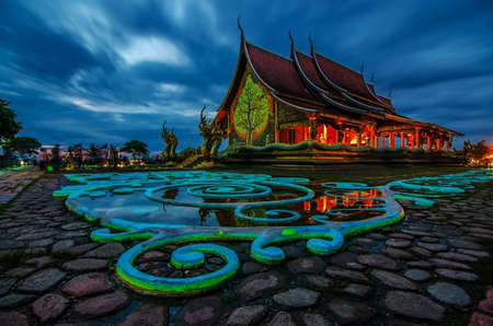 Sirindhorn Wararam Phu Prao Temple (Wat Phu Prao) at evening, Very Beautiful Temple near the Thai-Laos Border town of Chong mek In Sirindhorn district of Ubonratchathani Province unseen in thailand. Reklamní fotografie