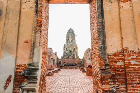 Door way to the principal prang of Wat Ratchaburana temple in Ayutthaya historical park, a popular tourist destination, Phra Nakhon Si Ayutthaya province, Thailand