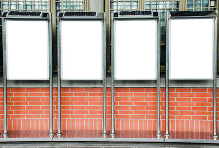 Four blank picture frames on brick wall, Template Mock up for your content. For product display and advertising and promotional purposes