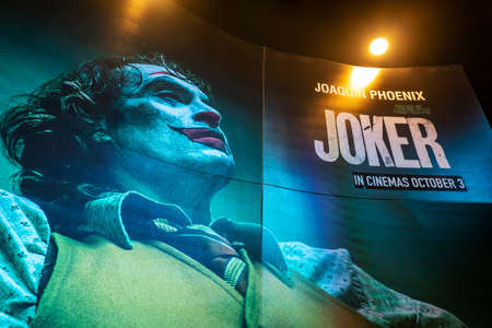 BANGKOK, THAILAND, Oct 3, 20199 - A beautiful standee of a movie called Joker movie display at the cinema to promote the movie,film industry marketing concept, Cinema promotional advertisement Editorial
