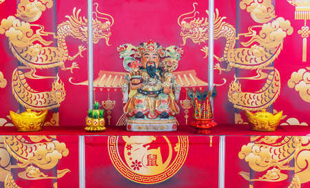 Bangkok, Thailand - Jen 18, 2020 : Cai Shen God of Wealth Goddess of Fortune on the table for gods worshiping Chinese beliefs in the Chinese new year 2020.Bangkok, Thailand
