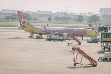 BANGKOK, THAILAND - NOV 22 : Nok Air Plane landed at Don Mueang International Airport on November 22, 2018 in Bangkok, Thailand. Nok Air is a major domestic low-cost airline in Thailand.