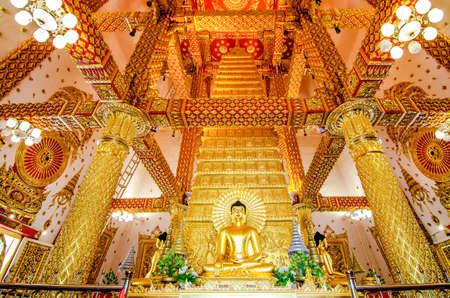 UBON RATCHATHANI, THAILAND - Feb 28, 2019: Interior of Phrathat Nong Bua. The pagoda modeled from Mahabodhi Temple India.