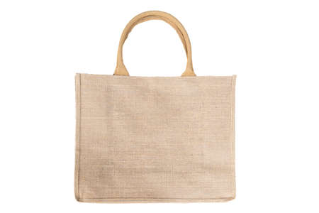 Shopping bag made out of recycled Hessian sack In Natural Brown Color Handles Isolated On White Background