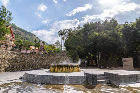 Famous natural hot spring well in Raksa Warin public park, Ranong, Thailand, Natural hot springs with geothermal mineral water.