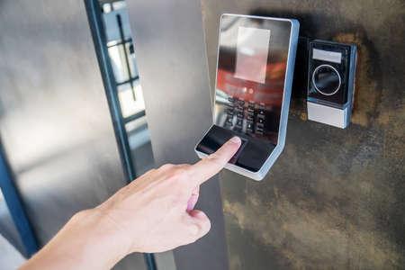 Electronic digital door in Officer scan finger print for enter security system