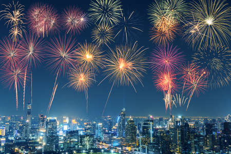 New Year multicolor fireworks celebration in Bangkok city skyline in night time