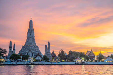 Beautiful view of Wat Arun Temple at sunset in bangkok Thailand. Wat Arun is a Buddhist temple in Bangkok Yai district of Bangkok, Thailand, Wat Arun is among the best known of Thailand's landmarks