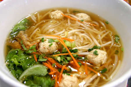 Chicken ball noodles in soup photo