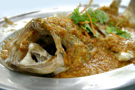 steam mouth: Ginger chili steamed fish on a silver plate