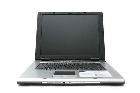 networked: Standard silver and black laptop computer with 15 inch screen