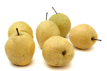 pome: A bunch of Japanese pears with different profiles Stock Photo