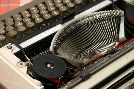 Old mechanical typewriter with ribbon and ink Stock Photo - 364298