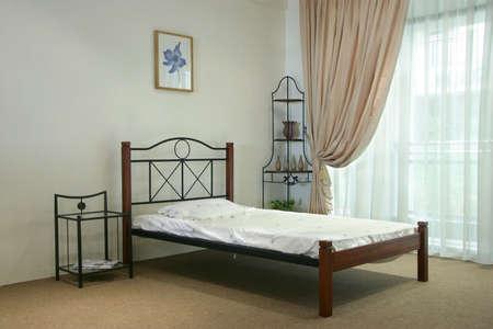 Single bed wooden and steel bedroom set photo