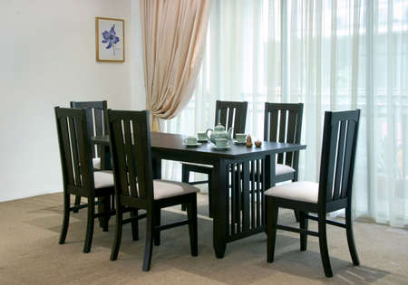 Rubber wood dining table set with dark stain photo