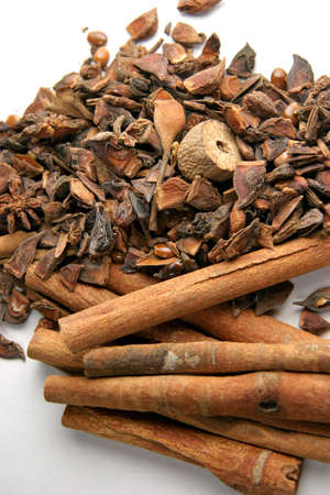 neutralizer: Cinnamon sticks with other mixed spices on a white card