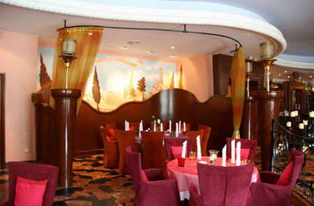 Restaurant interior with sublime colors and velvet linings Stock Photo - 450623