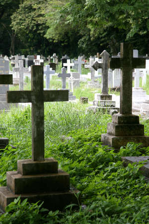 Gravestones at a Christian cemetery photo