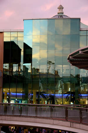 lowrise: Window reflections at modern shopping mall Stock Photo