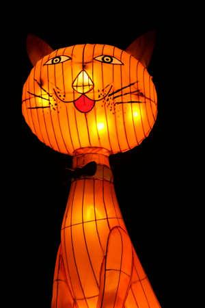 roundish: Lantern of a cartoonish cat at the Kuala Lumpur lantern Festival Editorial