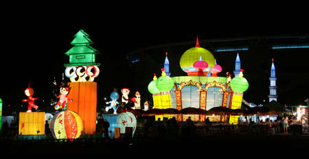 Massive building replica lanterns at Kuala Lumpur lantern festival photo
