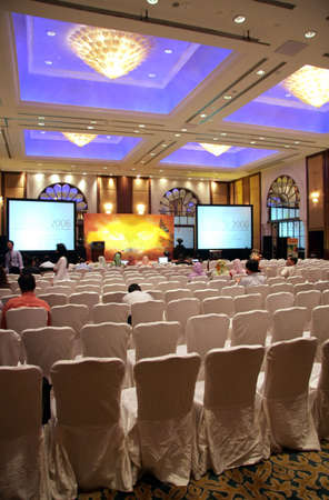 agro: An empty-ish hall at a large launching ceremony held in a hotel