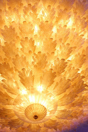 Close up of leaf designed ceiling chandelier Stock Photo - 529093