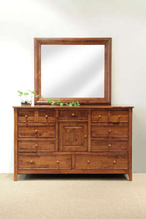 grained: Hazel stained grained rubber wood mirror dresser with drawers for the bedroom